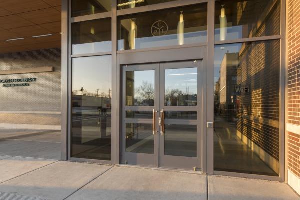 Albany Park Library & Door Gallery | Ellison Bronze - Custom Crafted Balanced Doors