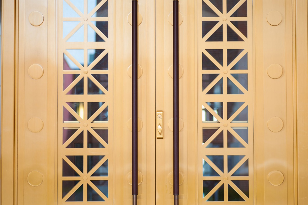 Old Point National Bank Formed Bronze Balanced Doors